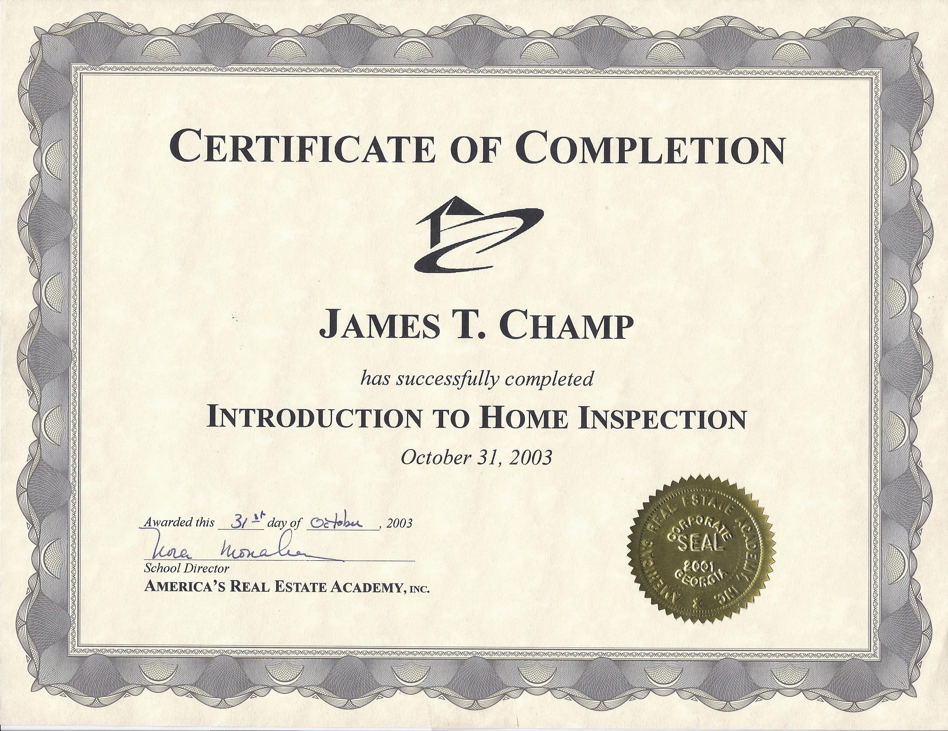 inspection area certificate training