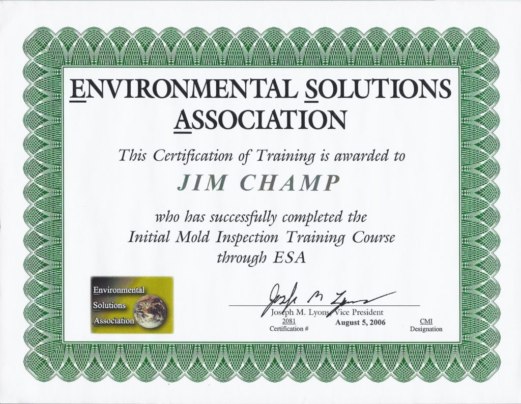 Home inspector credentials champ home inspections esa mold training certificate xflitez Images