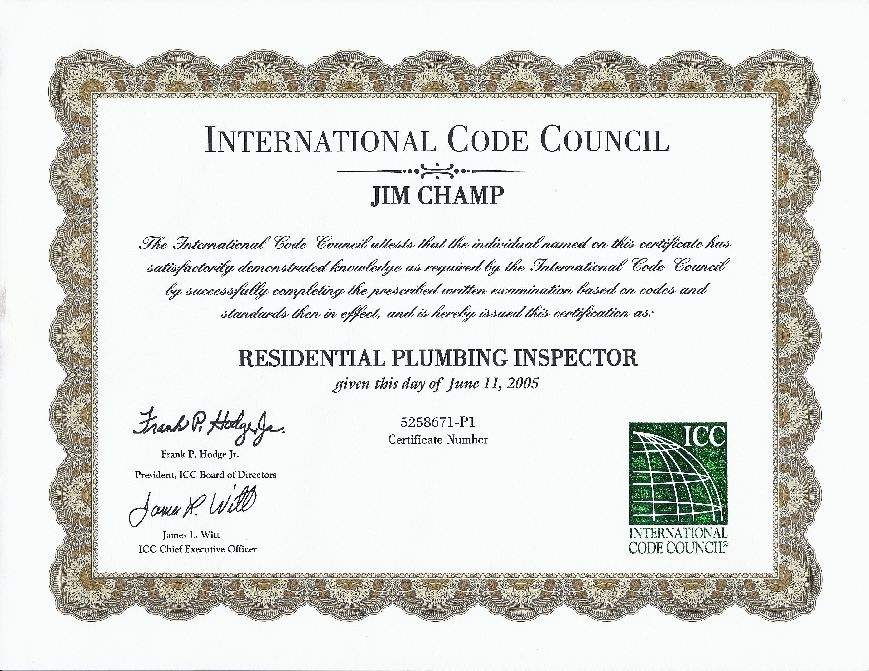 plumbing certificate residential inspector